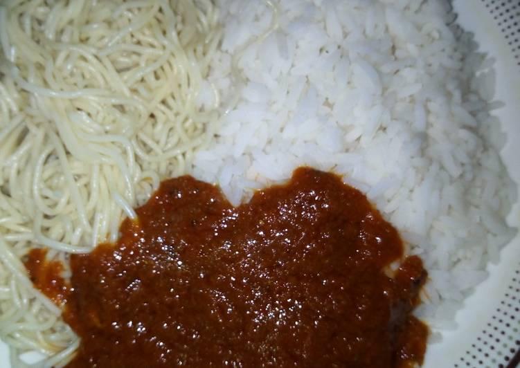 Rice and spaghetti