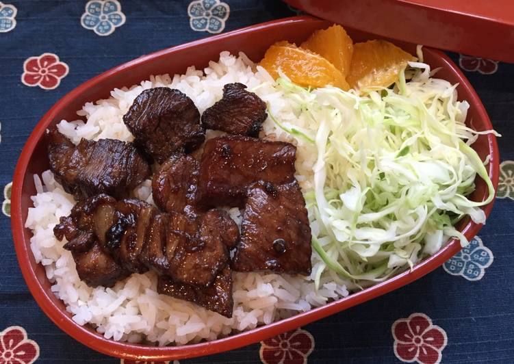 Beef Steak Bento Box ステーキ弁当, Gluten Free possible