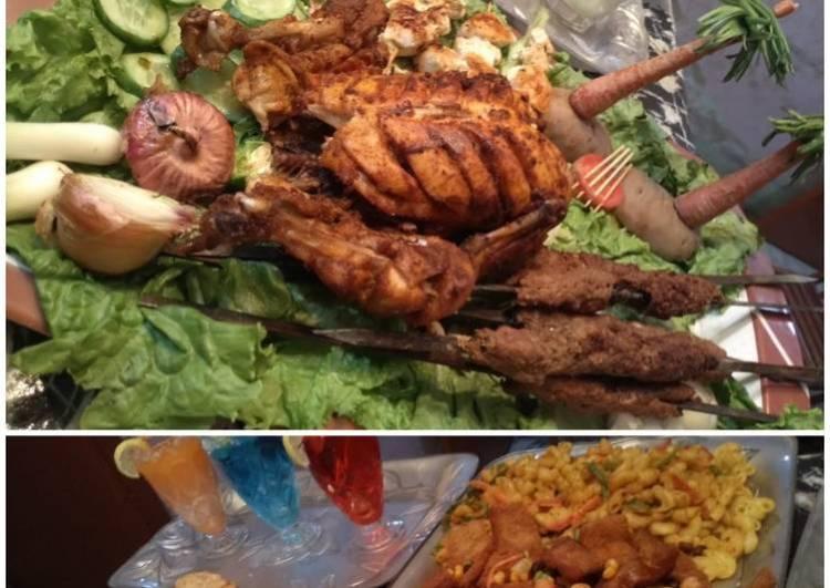 Sizzling Bar b que platter, Bandoo Khan parathe, sauce & salad