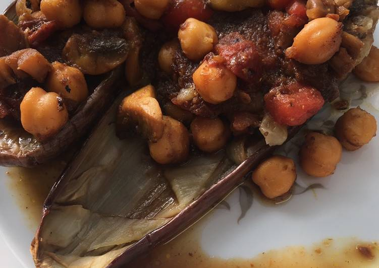 Keto Friendly Eggplants with spicy chickpeas