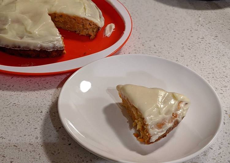 Eggless carrot cake (with whole-wheat flour)