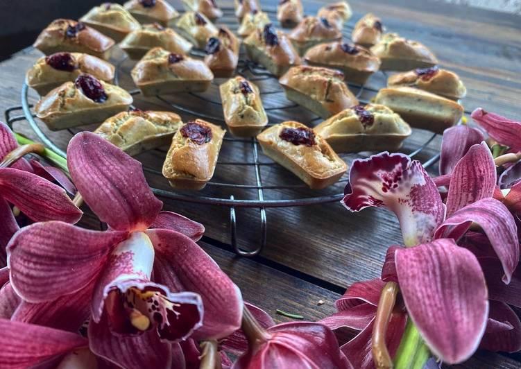 Financiers aux amandes /thé vert sencha-Matcha et cranberrys (sans gluten et sans lactose)