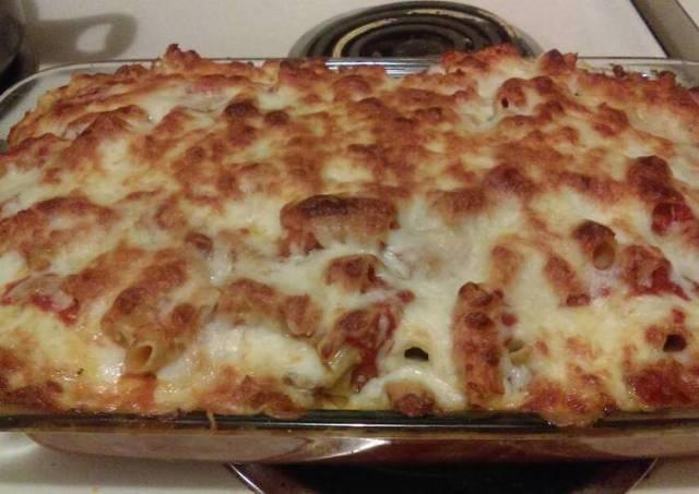 Mozzarella, Asiago baked rigatoni