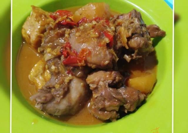 Ayam tahu kentang pedas manis