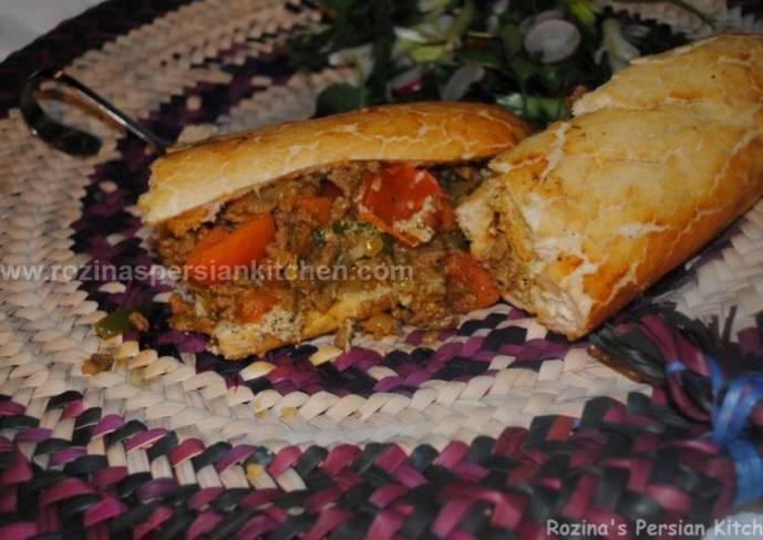 Persian pan fired kebab with aubergine sauce کباب تابه ای با سس بادمجان