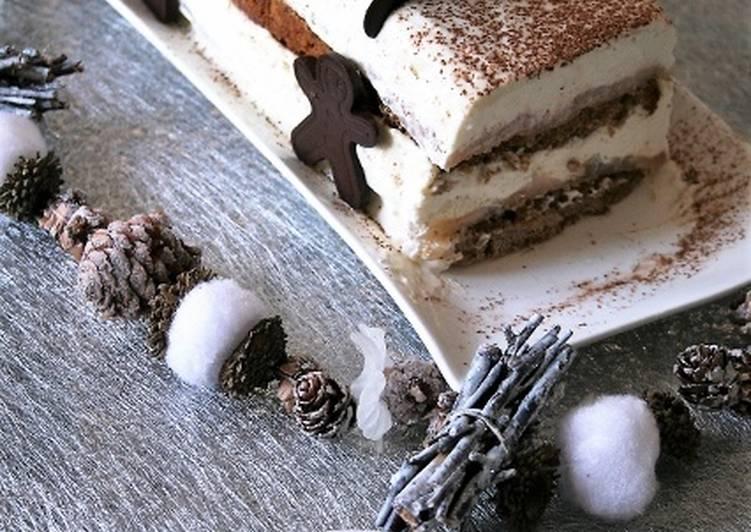 Bûche pain d'épices, poires, mousse mascarpone Bio, sans oeufs ni gluten..