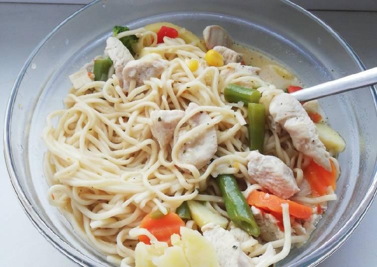 Tom kha kai with egg noodles