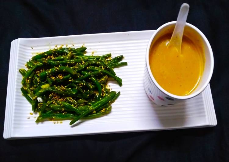 Masoor Dal Soup with Roasted French beans
