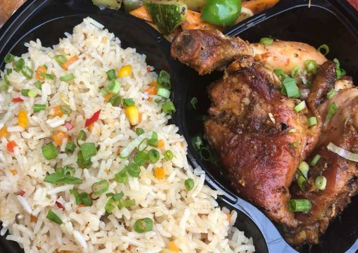Chinese fried rice and grilled chicken