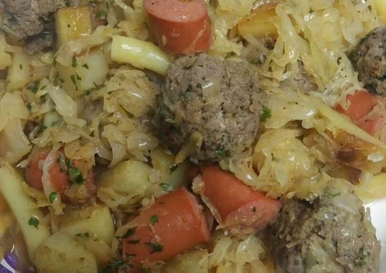 Hotdog, Meatballs, and Sauerkraut