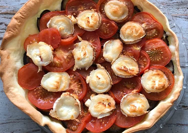 Tarte aux aubergines, tomates et chèvre