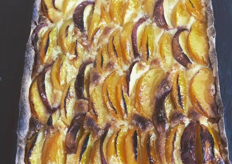 Tarte pêches crème bourdalou (frangipane pour moi)#étésucré