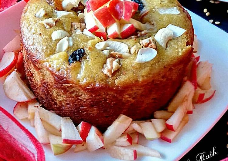 Moong dal chunk apple dry fruits cake