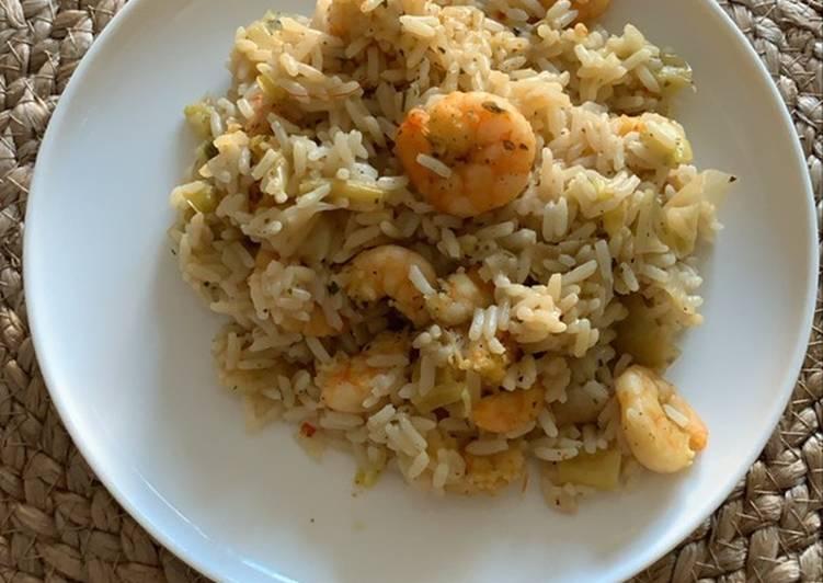 Riz aux crevettes et poireaux au Cookeo