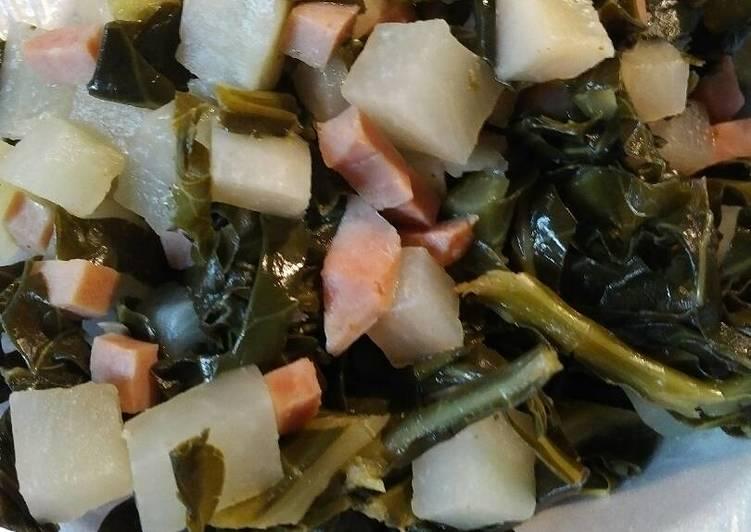 Collards, Ham, and Turnip Root