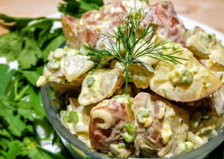 Creamy dill pickle potato salad