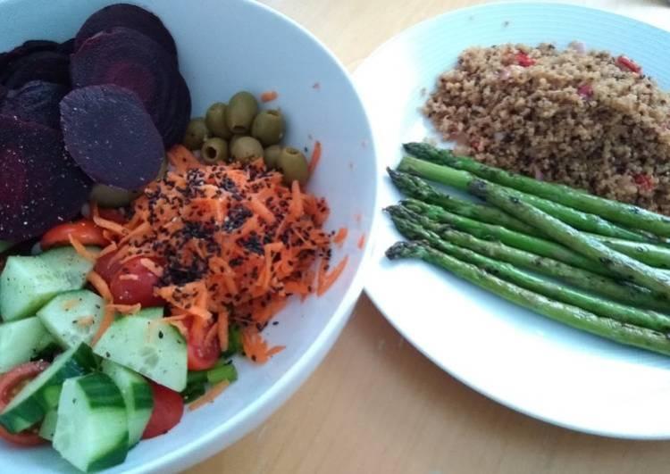 Monday Night Salad with Quinoa & Asparagus