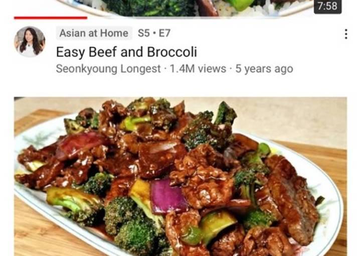 Broccoli beef on rice
