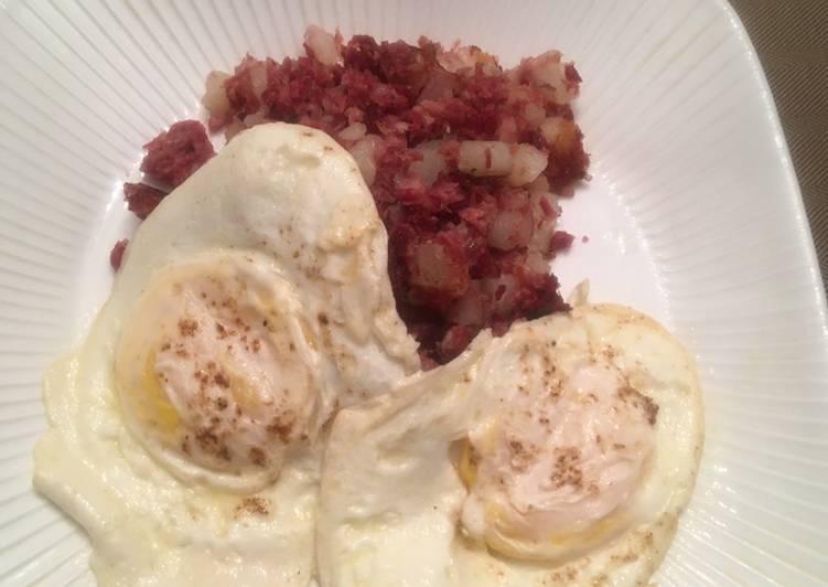 Corned Beef Hash with Eggs Over Easy
