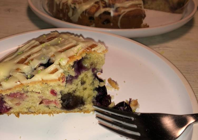 Red Berry's with roasted almond cake
