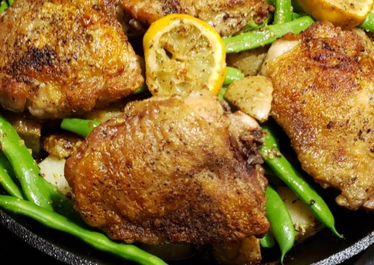 Lemon Dijon Chicken, potatoes and green beans