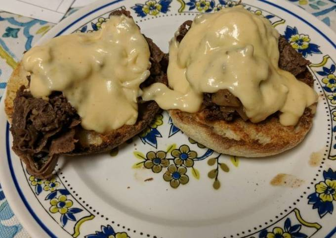 Open Faced Philly Cheese Steak Sandwich