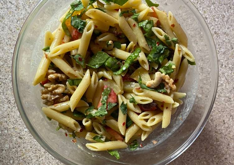 Pasta fruit and nuts salad
