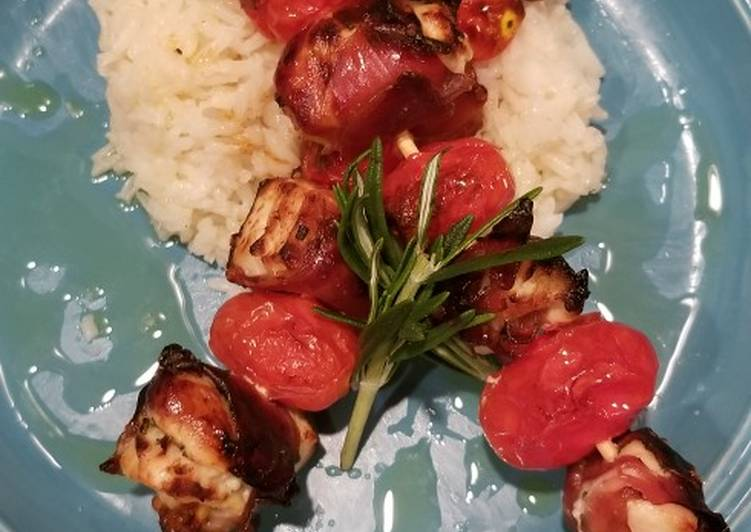 Prosciutto wrapped chicken kebabs