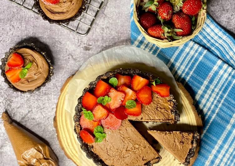 Dark Chocolate Strawberry Walnut Tart