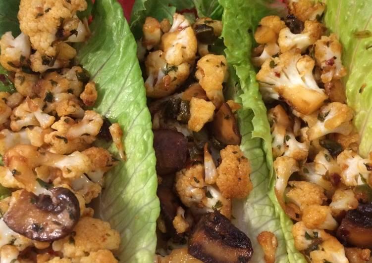 Spicy cauliflower lettuce wraps