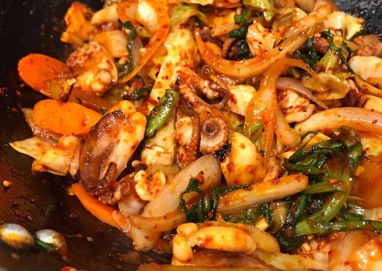 Nakji Bokkeum (Korean Spicy Octopus Stirfry)