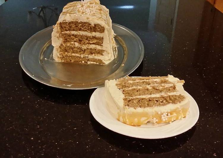 Apple Spice Layer Torte with Caramel Mousse Filling and Frosting