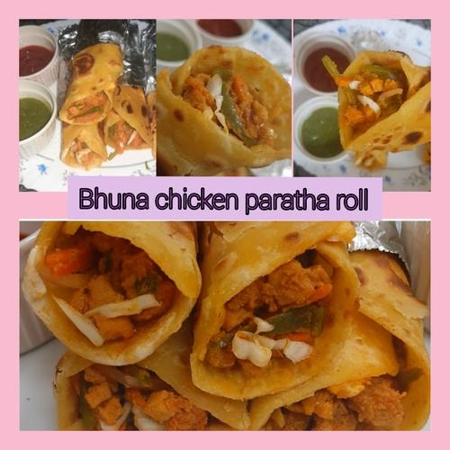 Bhuna chicken paratha roll😍