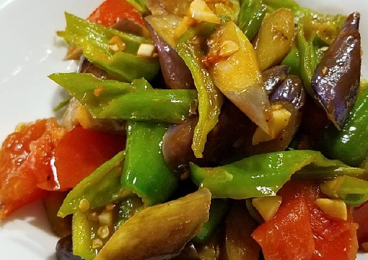 Eggplant pepper and tomato Stirfry 炒三茄#vegan#