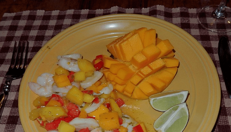 Shrimp and Scallop with Mango Salad