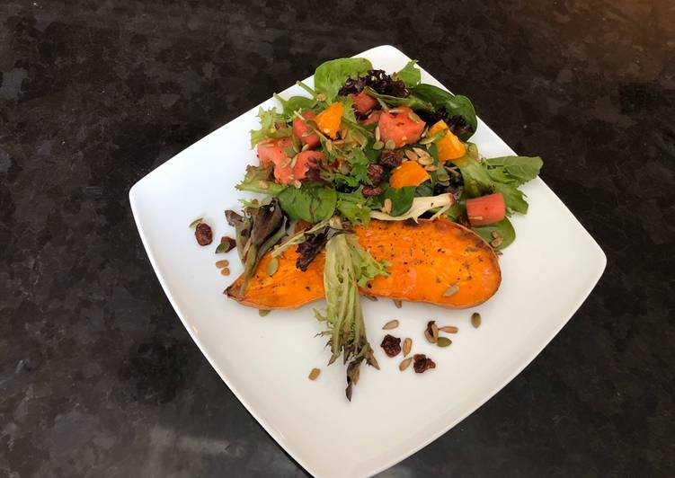 Baked Sweet Potatoes and Watermelon Green Salad