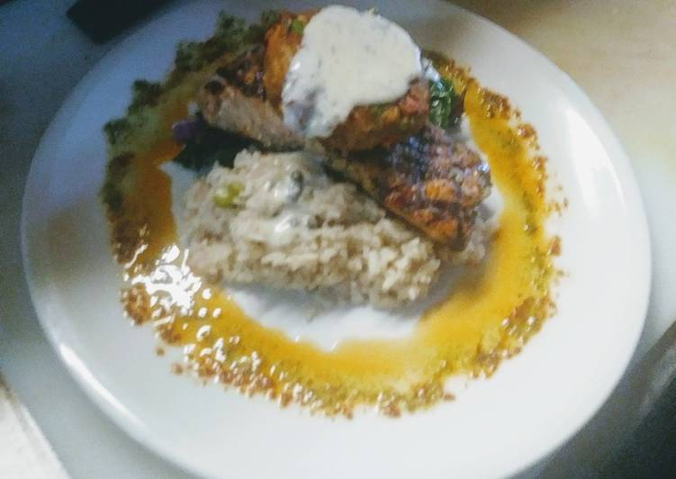 Grilled Salmon Parm Rice Swiss Chard w/Crab Cake and Dill Butter