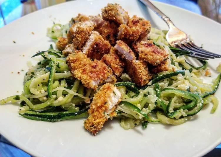 Parmesan Breaded Chicken & Zucchini Spaghetti (Low-Carb)