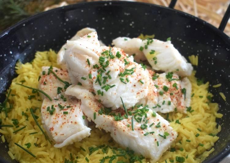 Riz pilaf au curry poisson blanc