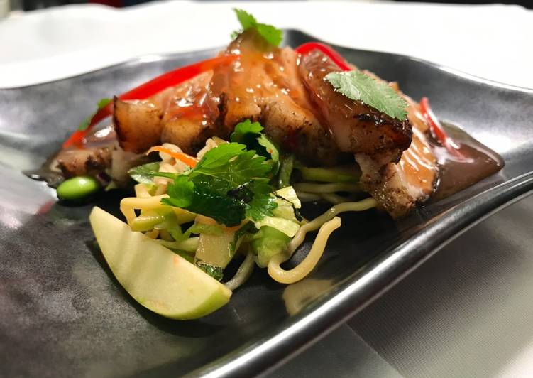 Roasted charsui pork belly with asian slaw