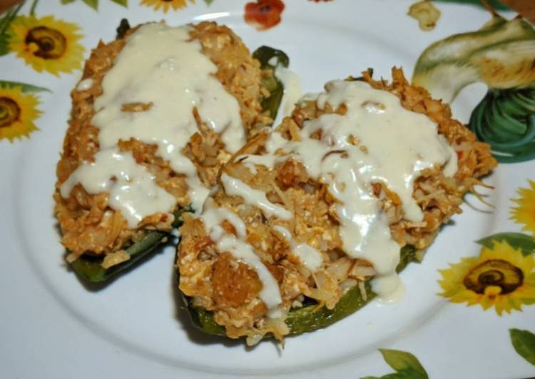 Roasted Poblano Peppers with Chicken & Queso Cheese Sauce