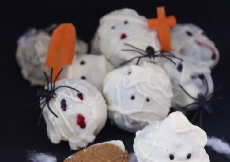 YUMMY PUMPKIN CHEESECAKE TRUFFLE MUMMIES (NO BAKE) #halloween