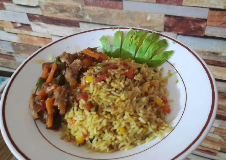 Vegetable rice and beef stew