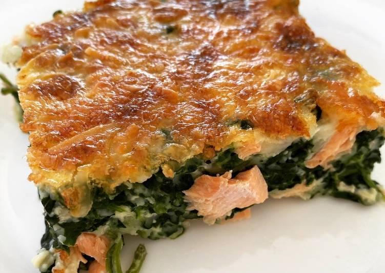 Quiche sans pâte aux épinard et au saumon