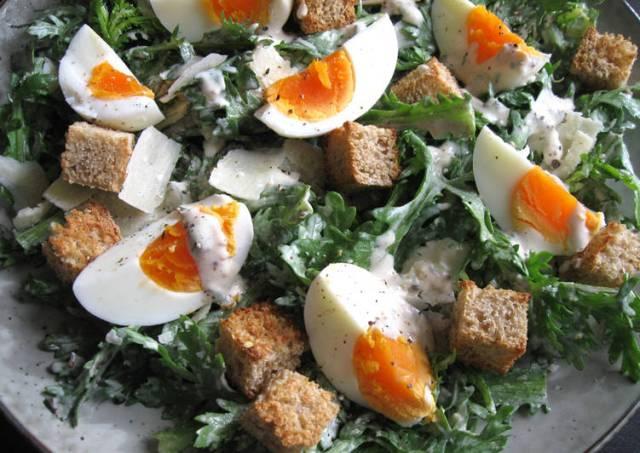Shungiku (Edible Chrysanthemum) Caesar Salad