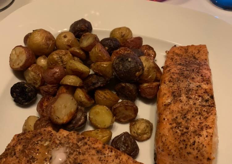 Air-Fried Honey Soy Salmon with Garlic Parmesan Potatoes