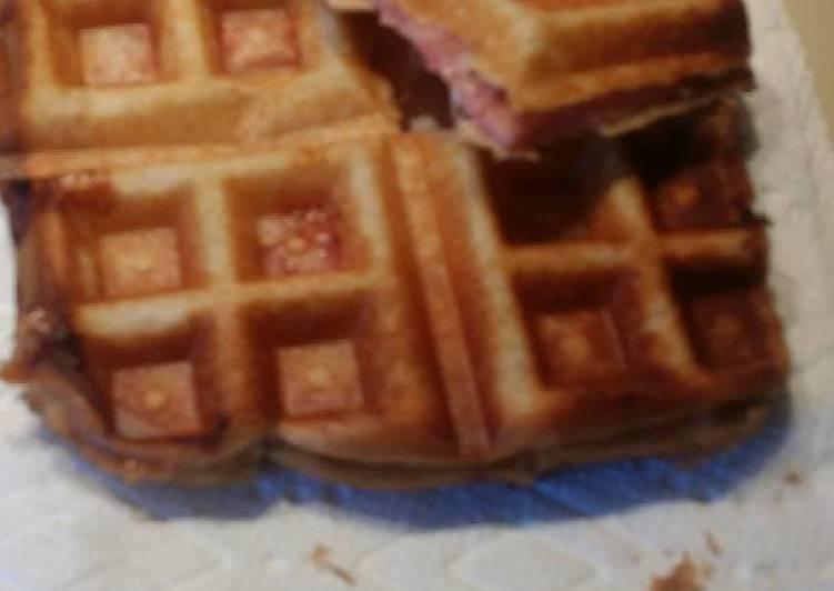 Ham and swiss waffle melt