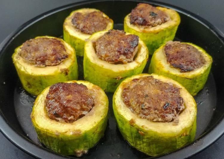 Asian Meatball Stuffed Zucchini