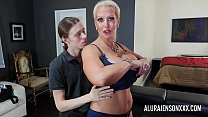 Busty blonde MILF fucking a younger guy with a long cock
