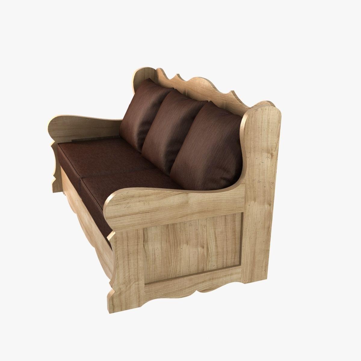 Wood Sofa Provence Village Style 3D Model Max Obj 3ds